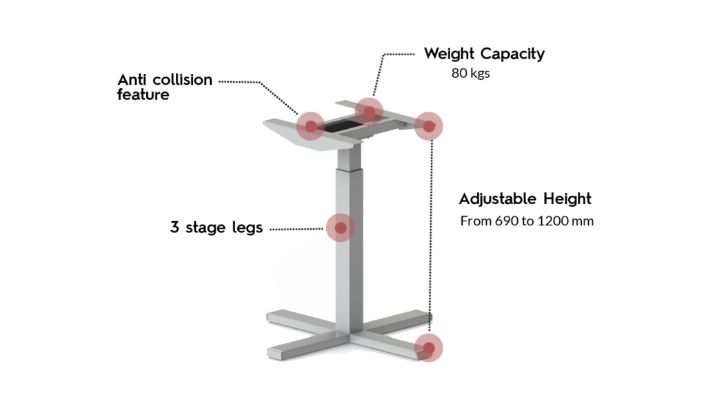 Actiforce SLS 370SC Standing Desk in silver color with annotated specifications
