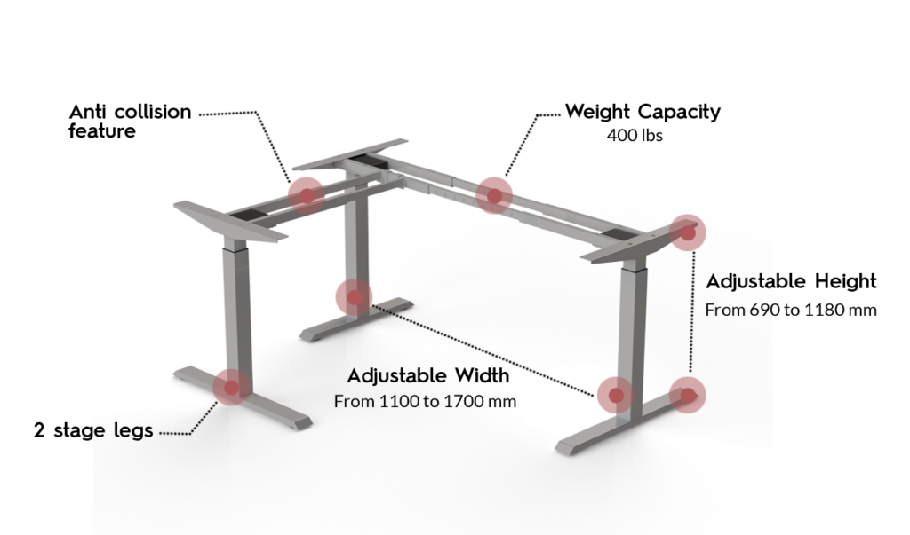 Actiforce SLS 371 Standing Desk in silver color with annotated specification