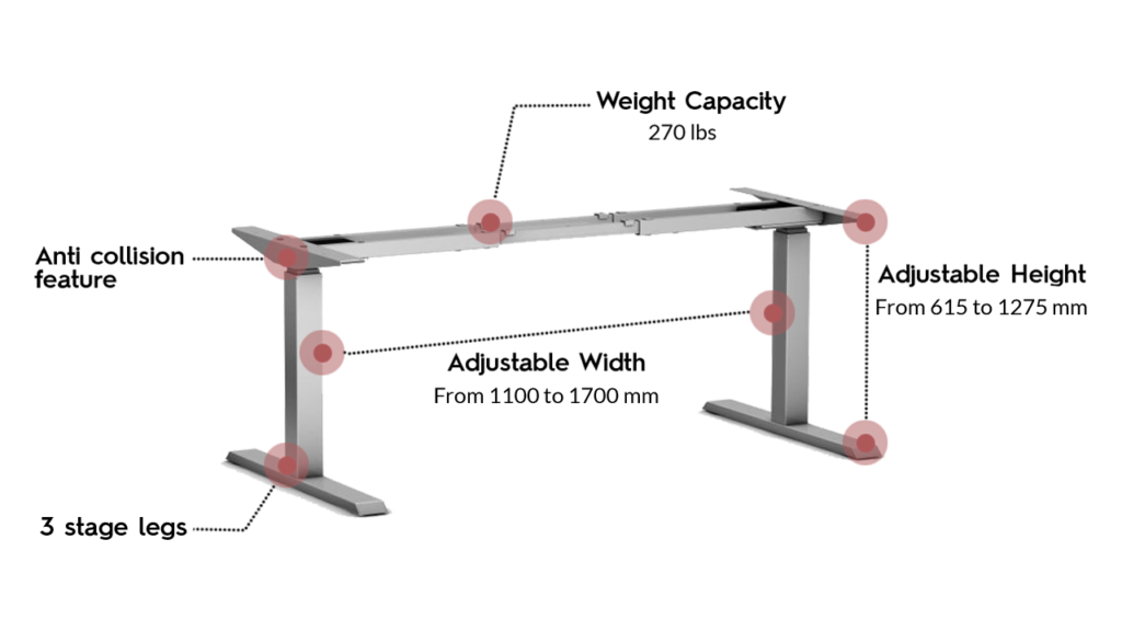 Actiforce SLS 470 Standing Desk in silver color with annotated specification
