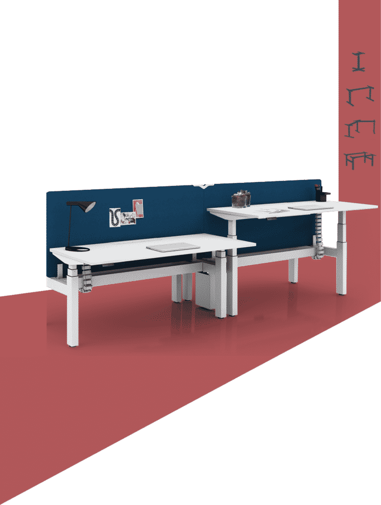 Height adjustable tables in back to back configuration