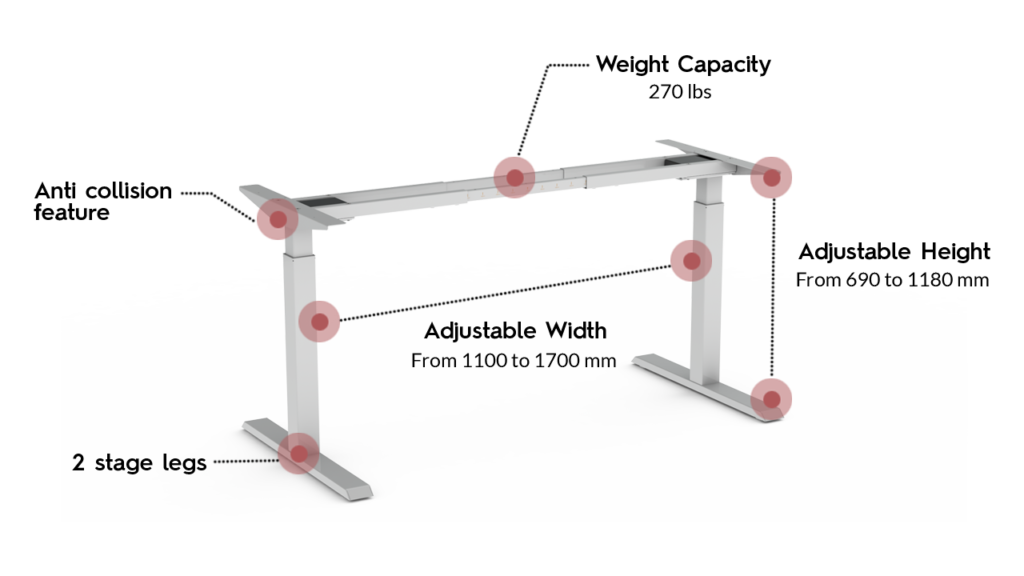370 SLS Standing desk frame with annotated specifications
