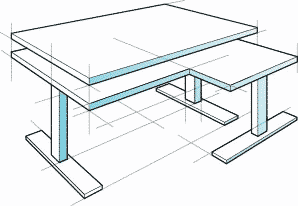 standing desk with top sketch